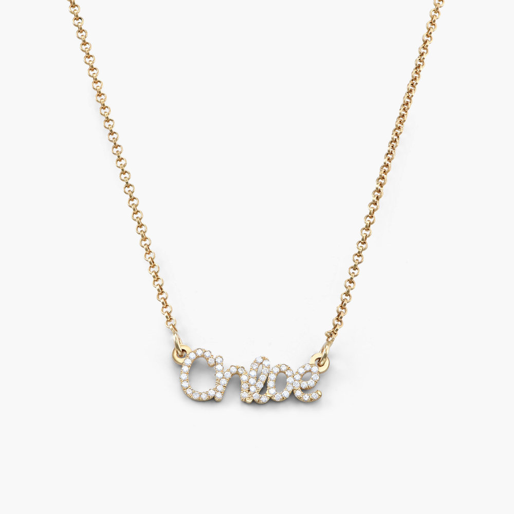 Pixie Name Necklace with Cubic Zirconia - Gold Plated