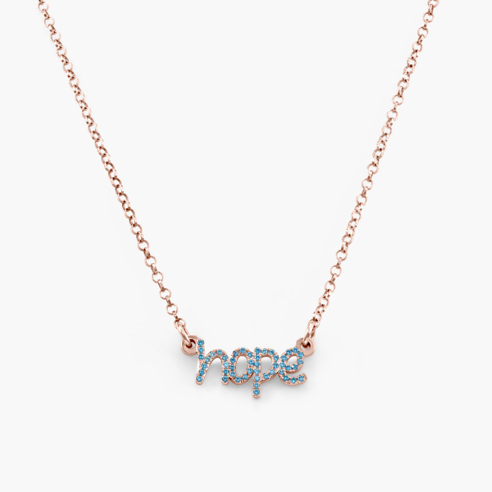 Pixie Name Necklace with Cubic Zirconia - Rose Gold Plated