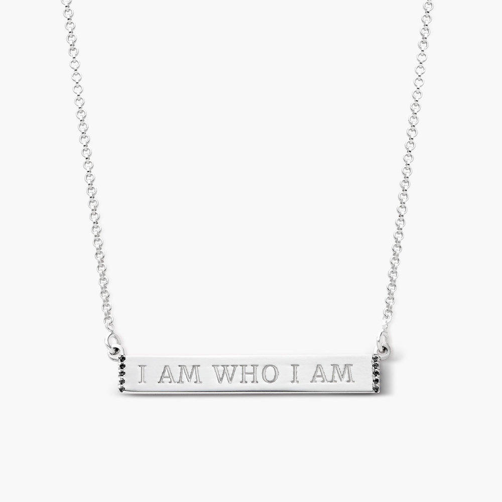 Engravable Bar Necklace with Cubic Zirconia - Silver