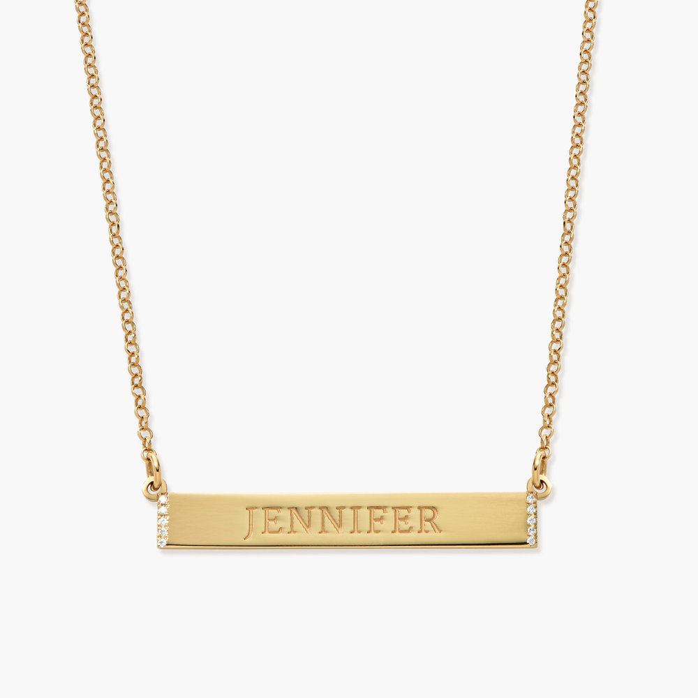 Engravable Bar Necklace with Cubic Zirconia - Gold Plated