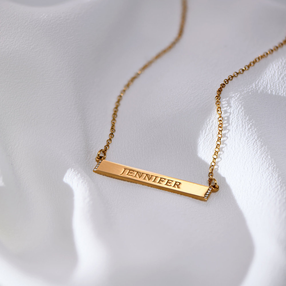 Engravable Bar Necklace with Cubic Zirconia - Gold Plated - 1