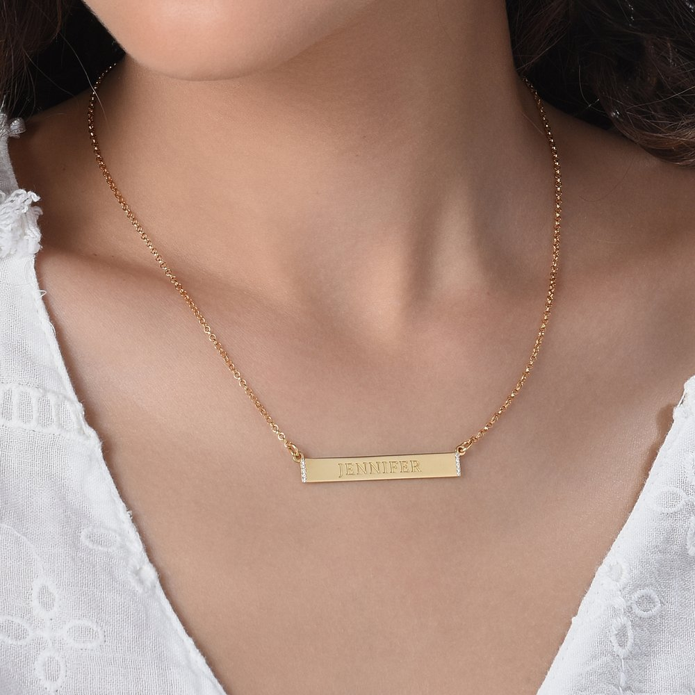 Engravable Bar Necklace with Cubic Zirconia - Gold Plated - 3