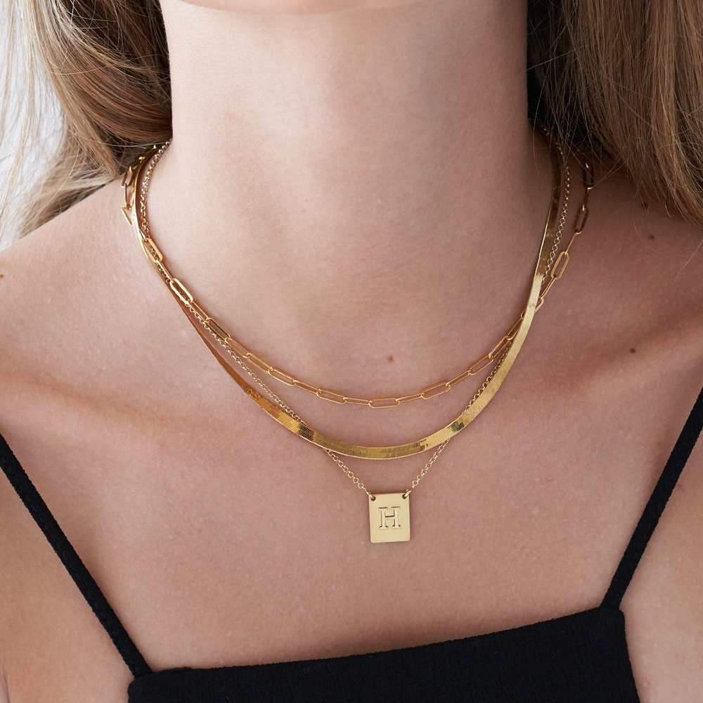 Pop Up Initial Necklace - Gold Plated - 2