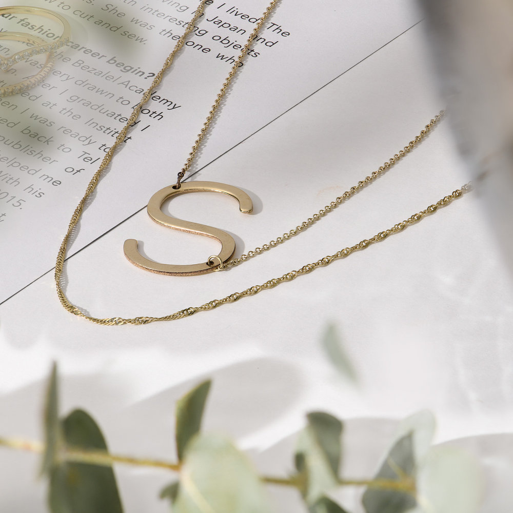 Initial Necklace - 14k Yellow Gold - 1