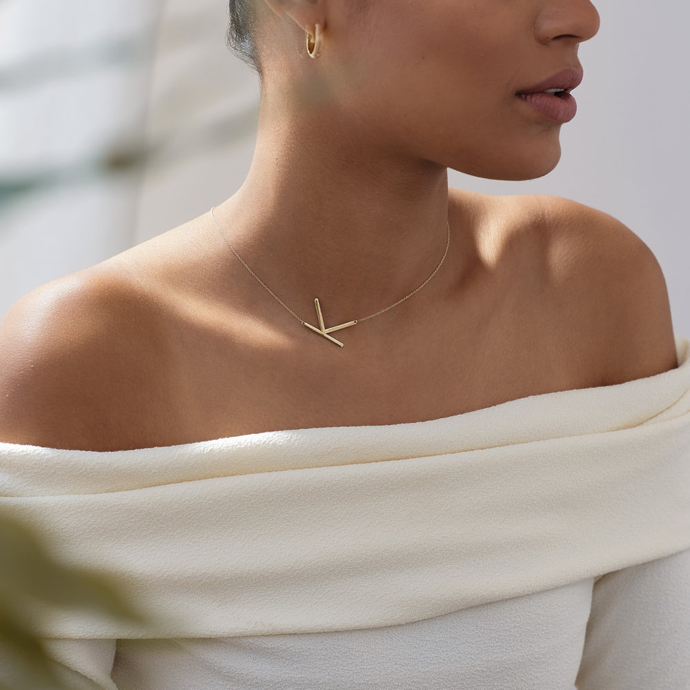 Initial Necklace - 14k Yellow Gold - 2