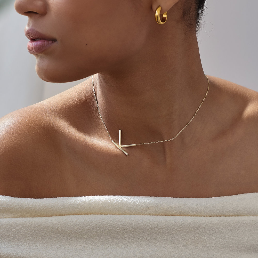 Initial Necklace - 14k Yellow Gold - 3