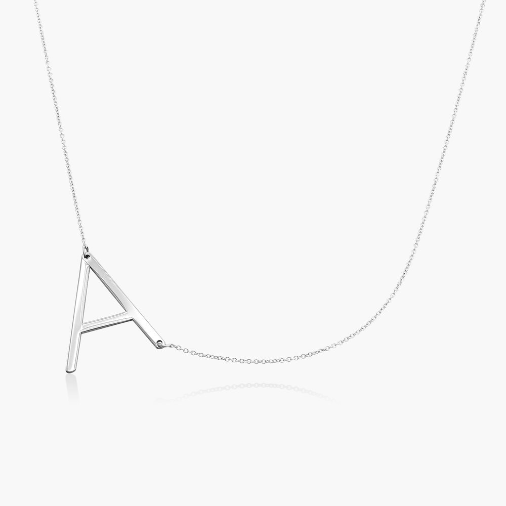 Initial Necklace - 14k White Solid Gold
