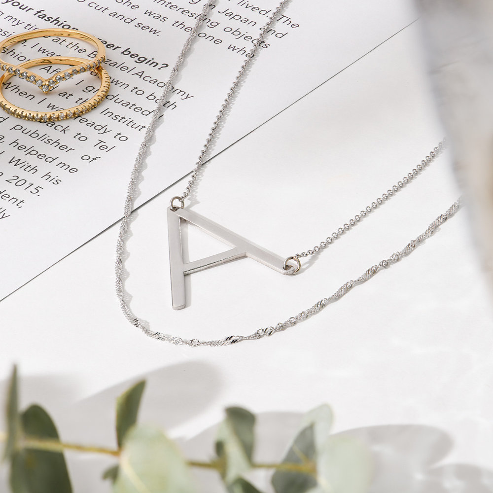 Initial Necklace - 14k White Solid Gold - 1