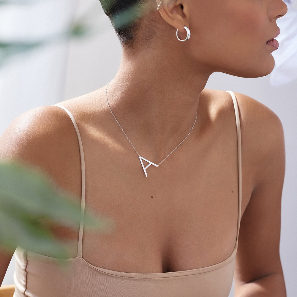 Initial Necklace - 14k White Solid Gold - 2