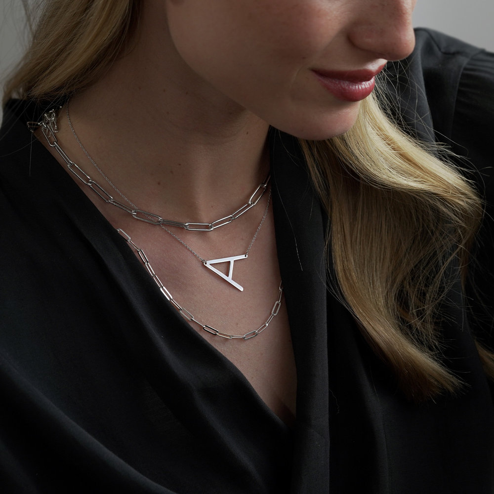 Initial Necklace - 14k White Solid Gold - 3