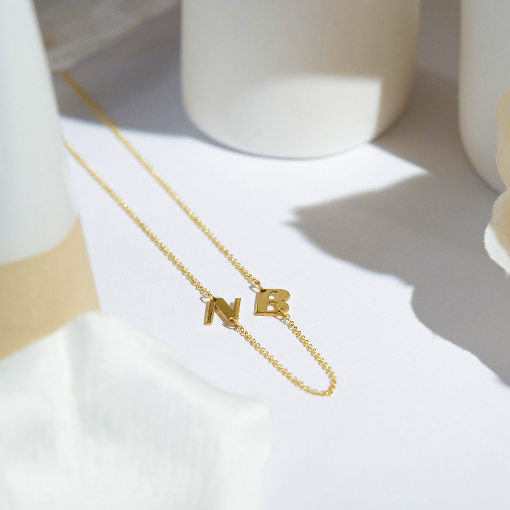 Mini Initial Necklace - 14k Yellow Gold - 2