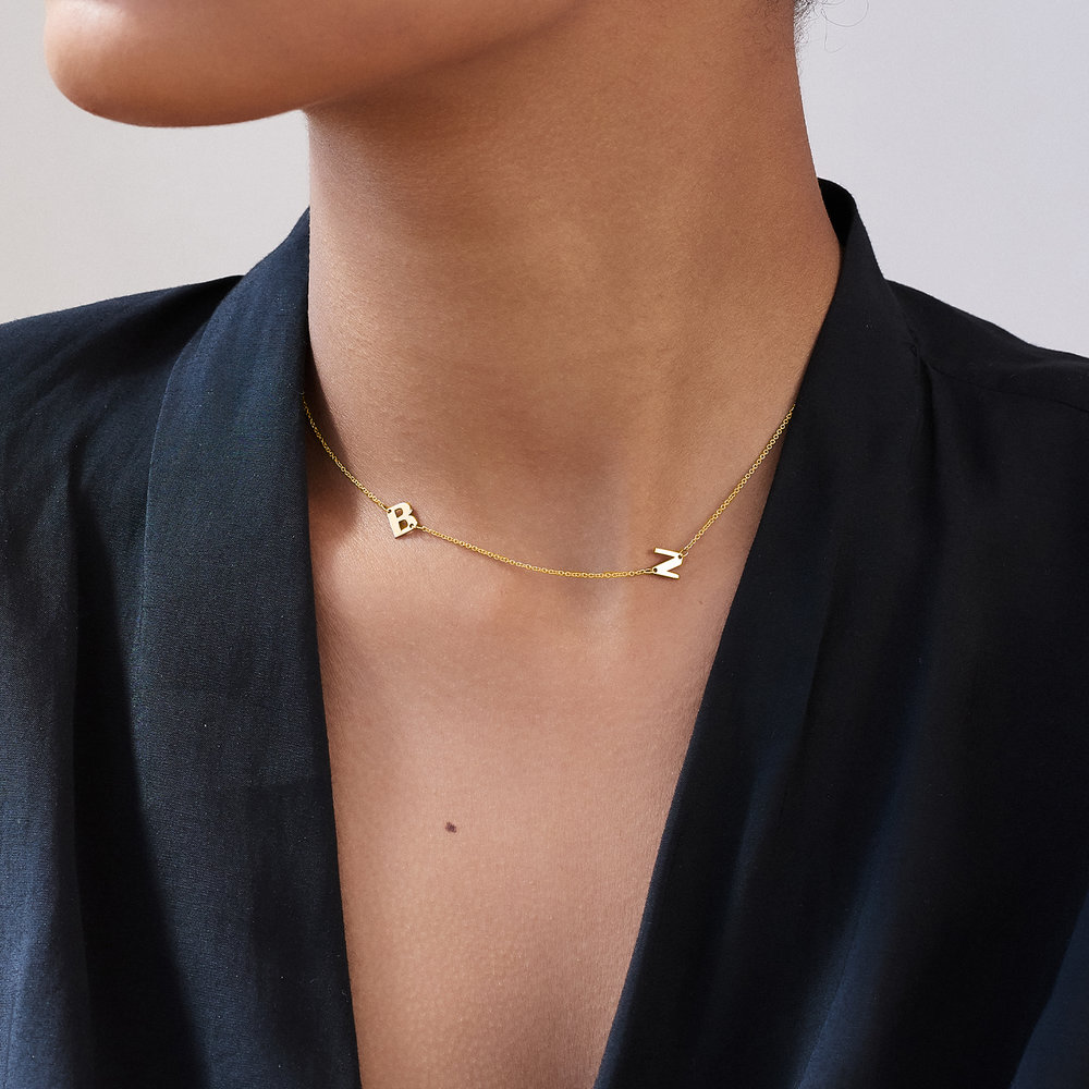 Mini Initial Necklace - 14k Yellow Gold - 4