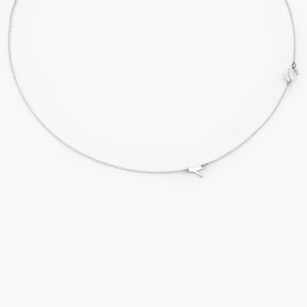 Mini Initial Necklace - 14k White Solid Gold