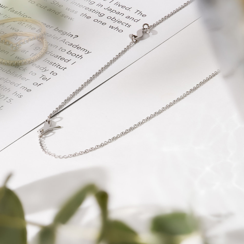 Mini Initial Necklace - 14k White Gold - 2