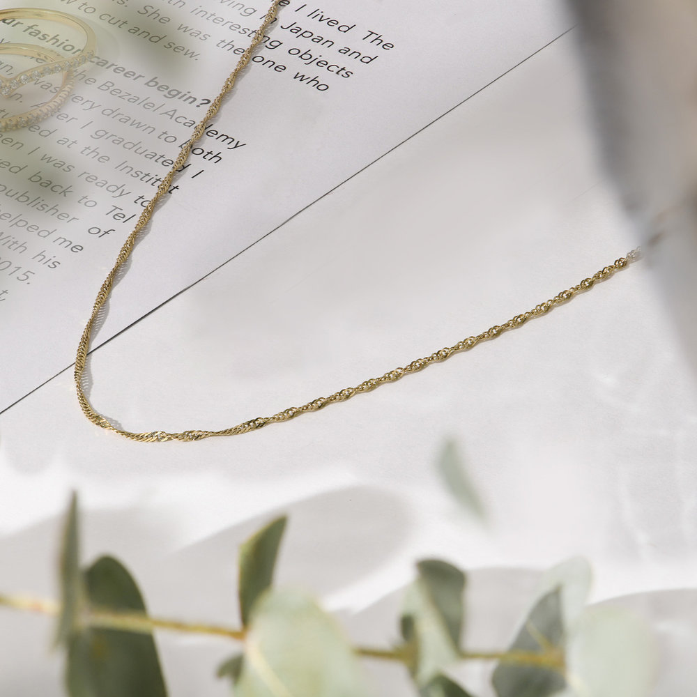 Twist Chain Necklace- 14K Yellow Gold - 1