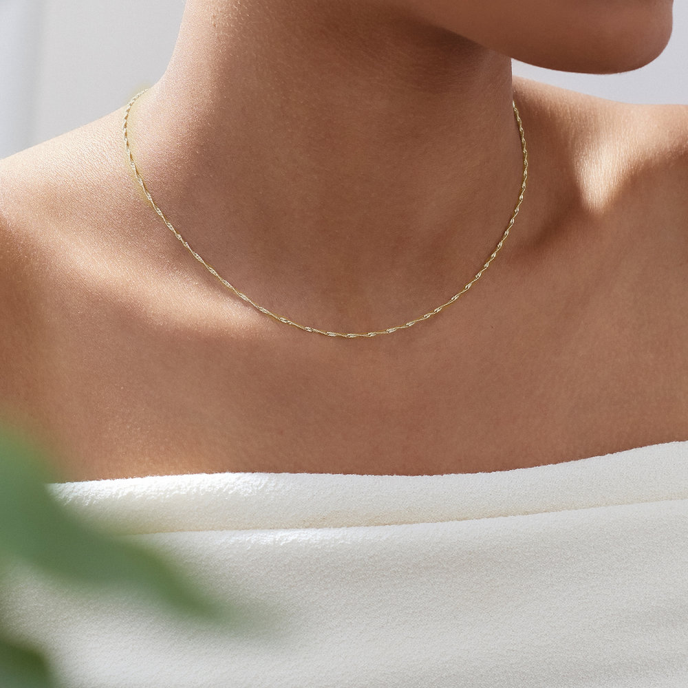 Twist Chain Necklace- 14K Yellow Gold - 3