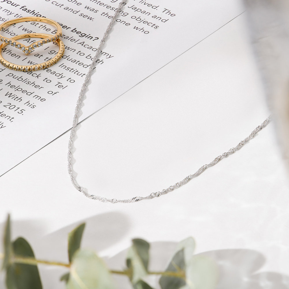 Twist Chain Necklace- 14K White Gold - 1