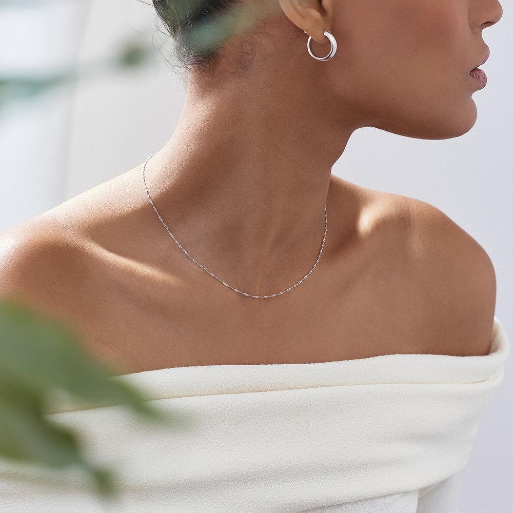 Twist Chain Necklace- 14K White Gold - 2
