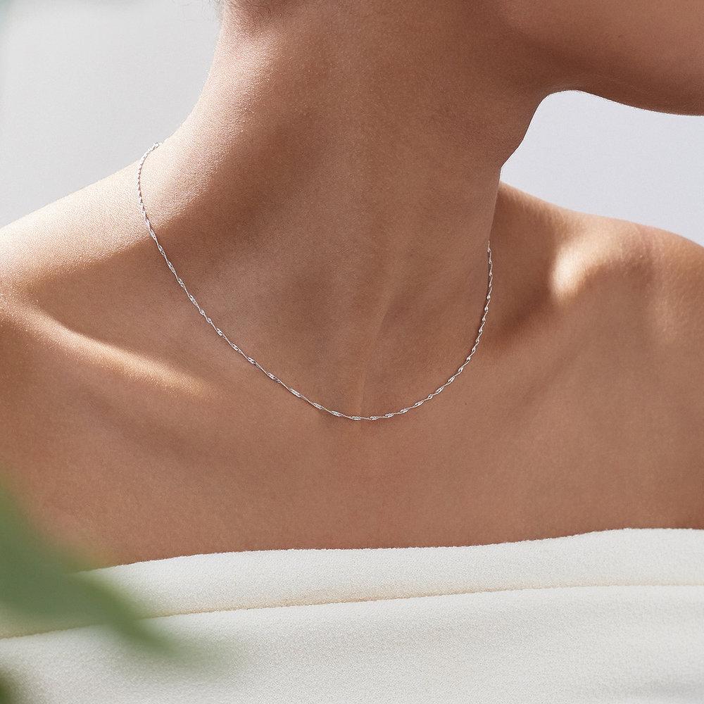 Twist Chain Necklace- 14K White Gold - 3