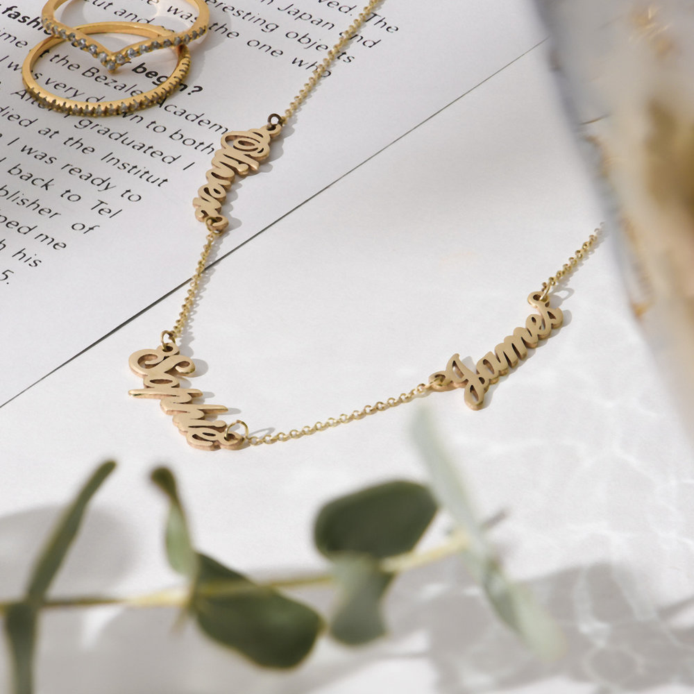 Multiple Name Necklace - 14K Solid Gold - 1