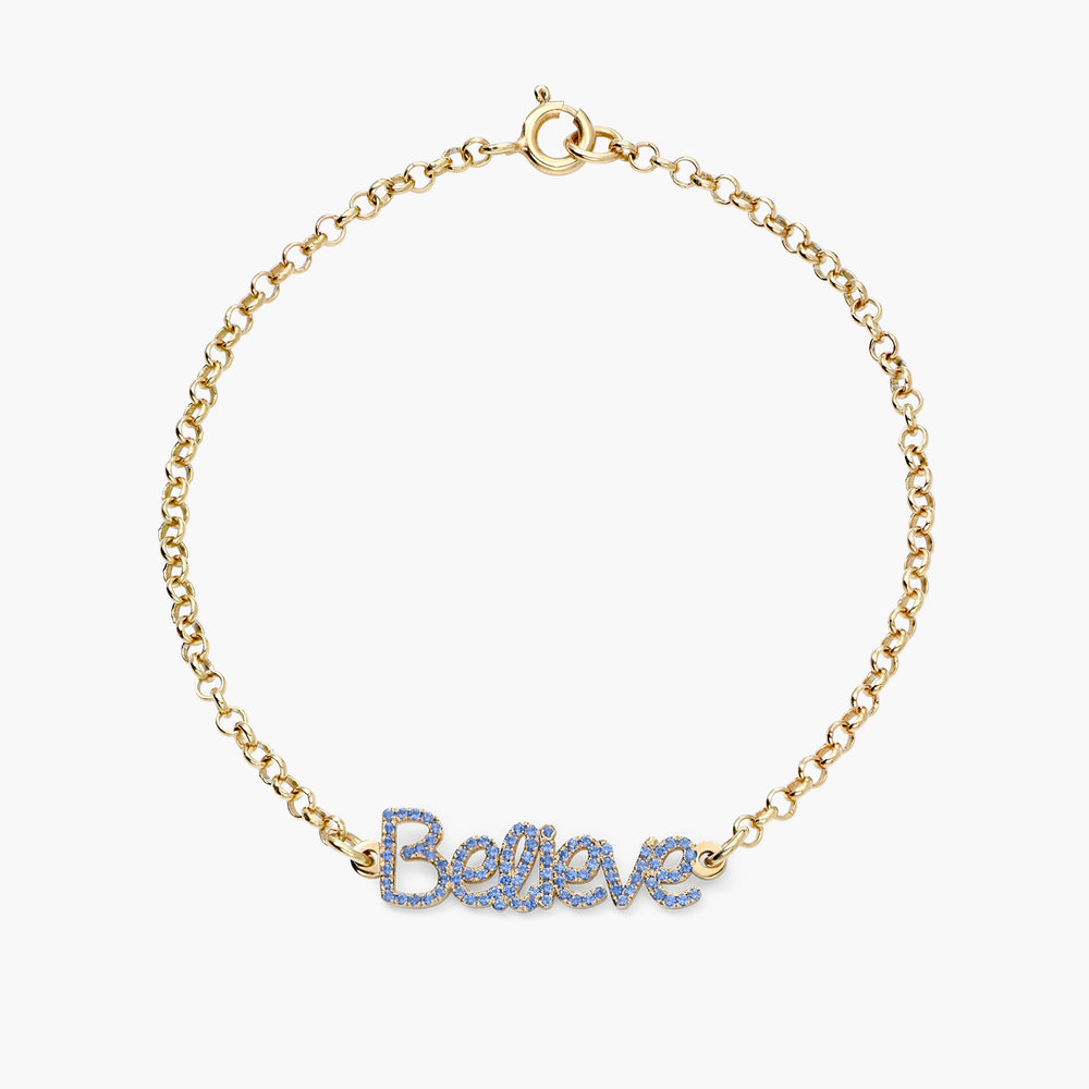 Pixie Name Bracelet with Cubic Zirconia - Gold Plated