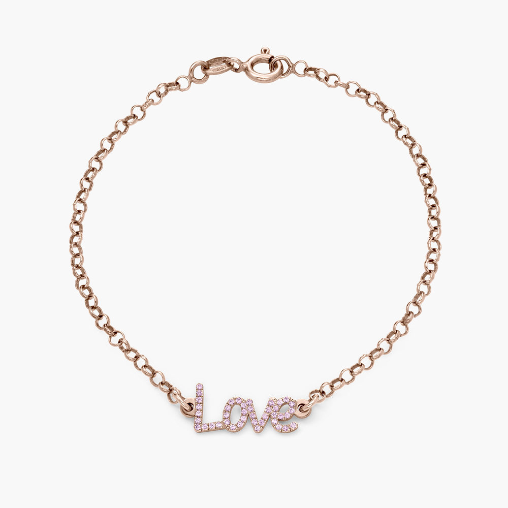 Pixie Name Bracelet with Cubic Zirconia - Rose Gold Plated