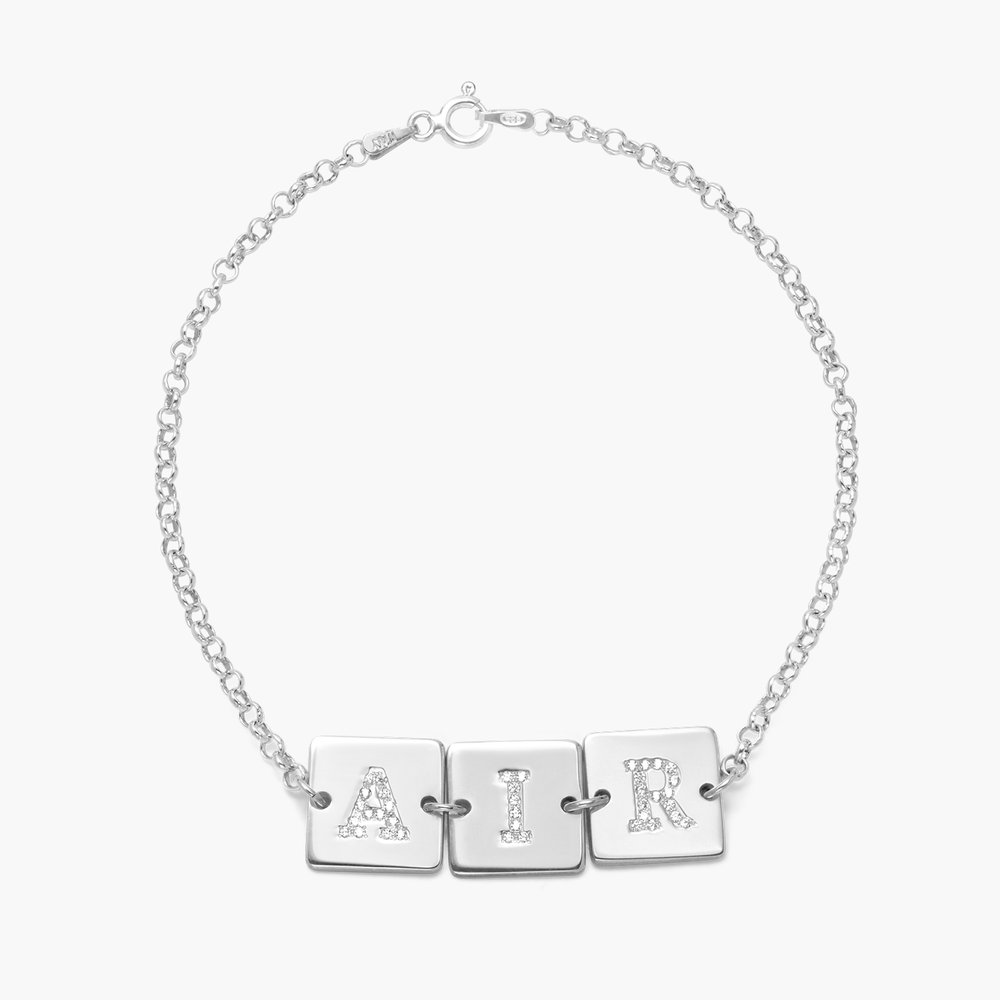 Cube Letter Bracelet with Cubic Zirconia - Silver