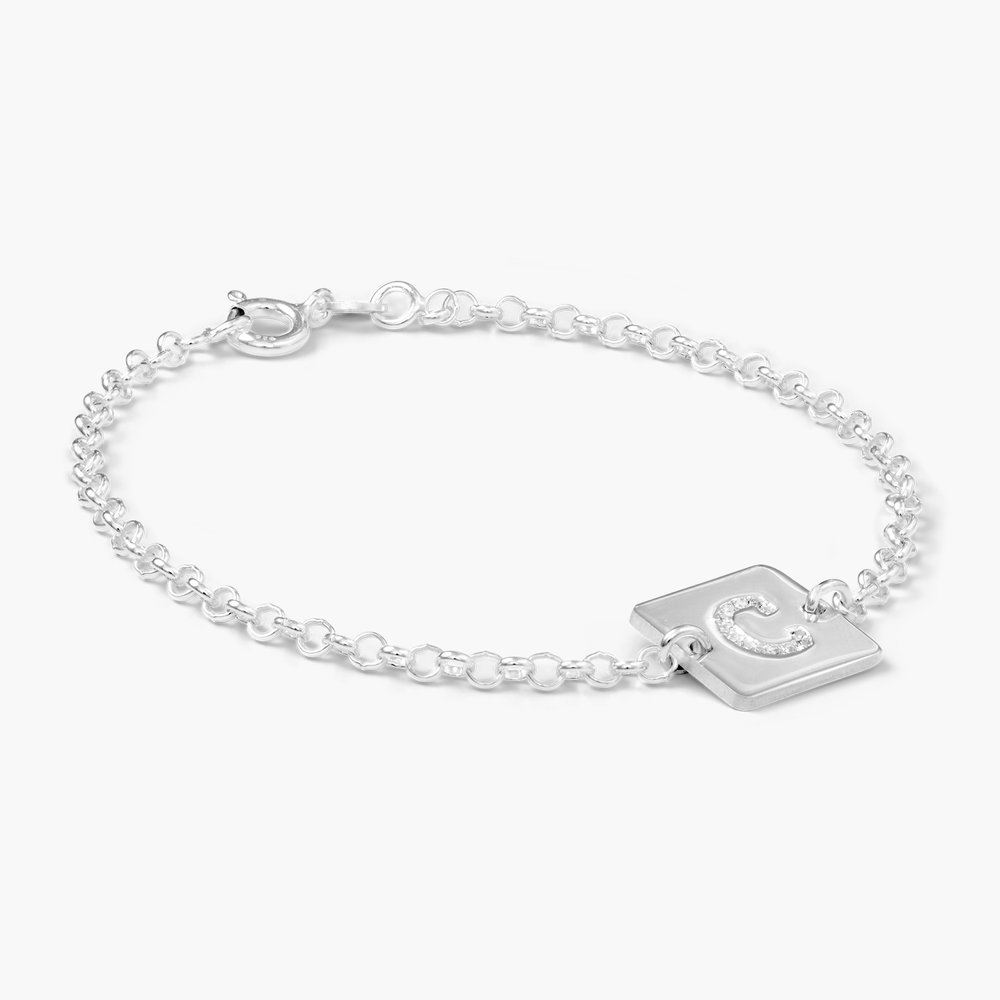 Cube Letter Bracelet with Cubic Zirconia - Silver - 1