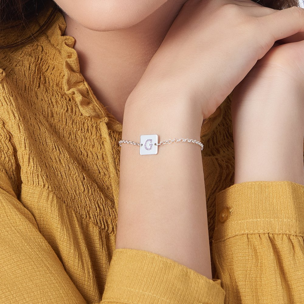 Cube Letter Bracelet with Cubic Zirconia - Silver - 3