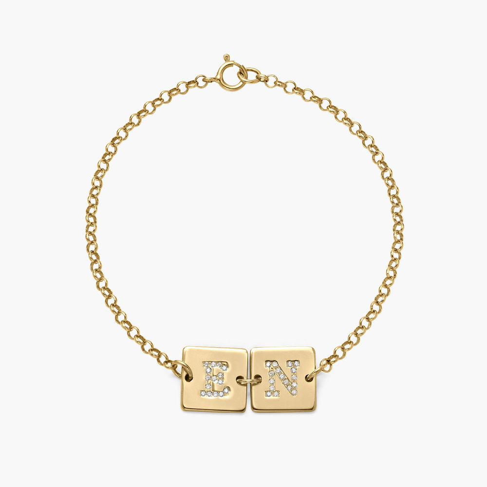 Cube Letter Bracelet with Cubic Zirconia - Gold Plated