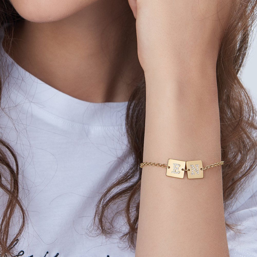 Cube Letter Bracelet with Cubic Zirconia - Gold Plated - 3