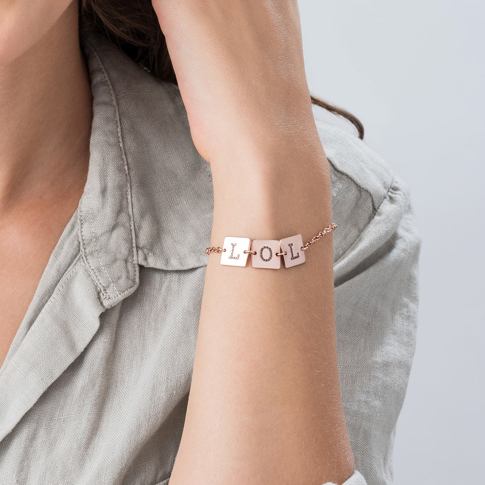 Cube Letter Bracelet with Cubic Zirconia - Rose Gold Plated - 3