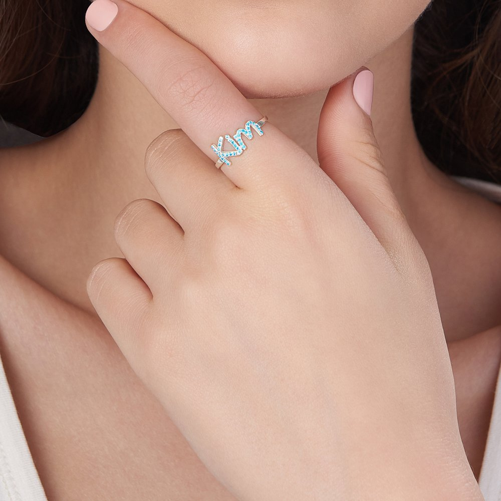 Pixie Name Ring with Cubic Zirconia - Silver - 3