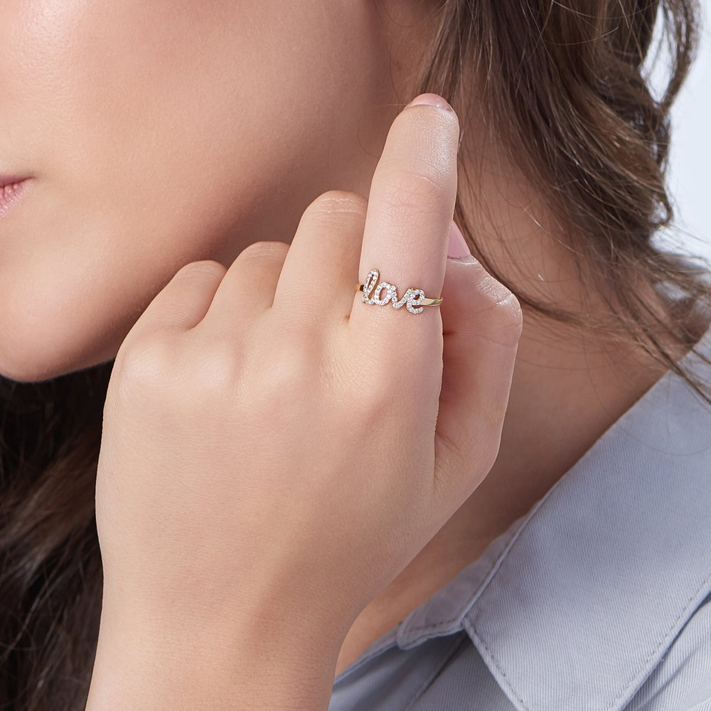 Pixie Name Ring with Cubic Zirconia - Gold Plated - 3