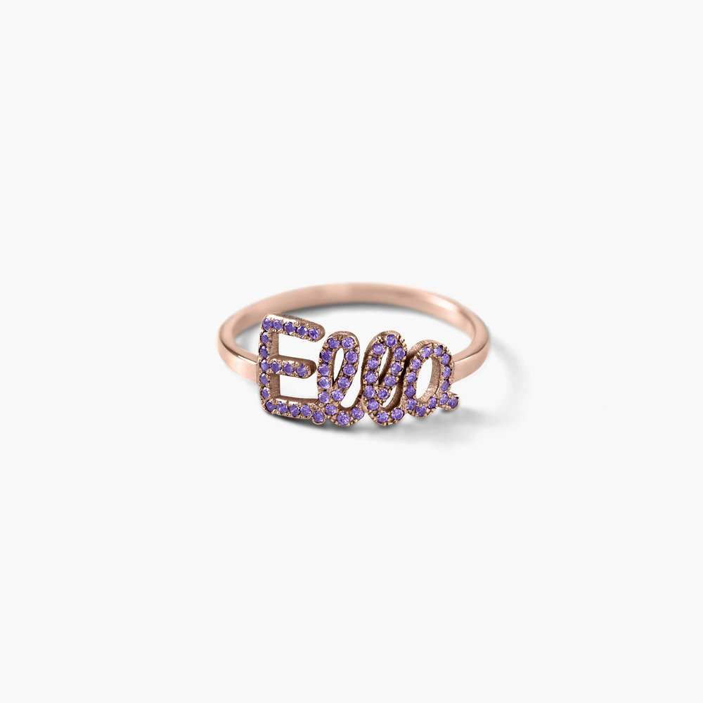 Pixie Name Ring with Cubic Zirconia - Rose Gold Plated