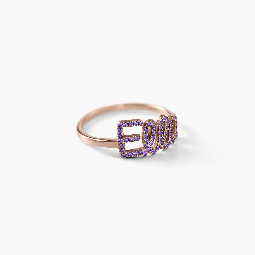 Pixie Name Ring with Cubic Zirconia - Rose Gold Plated - 1