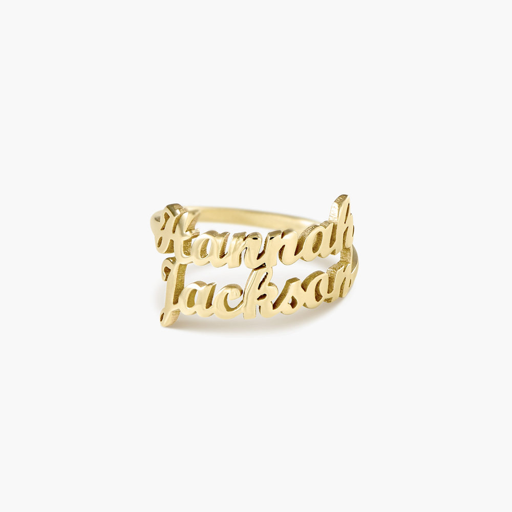 Two is Better than One Name Ring - 14K Solid Gold