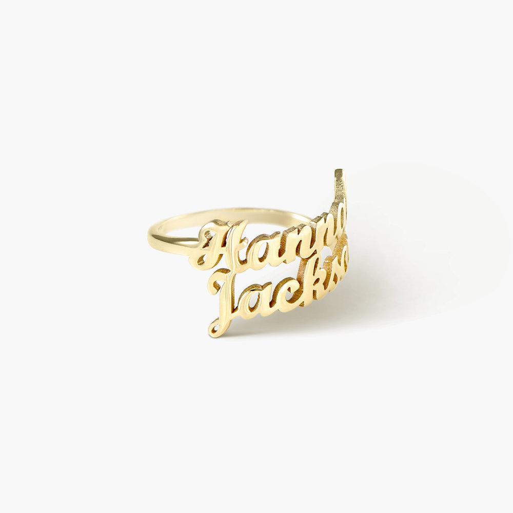 Two is Better than One Name Ring - 14K Solid Gold - 1