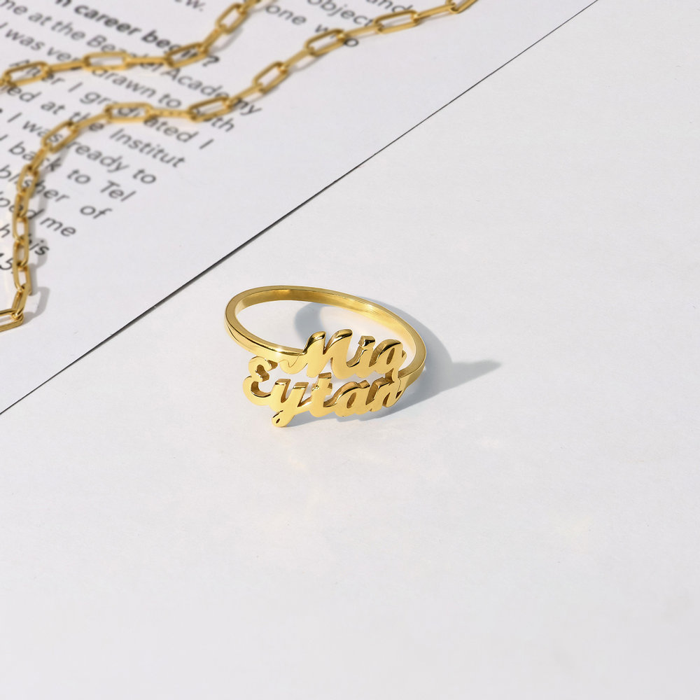 Two is Better than One Name Ring - 14K Solid Gold - 2