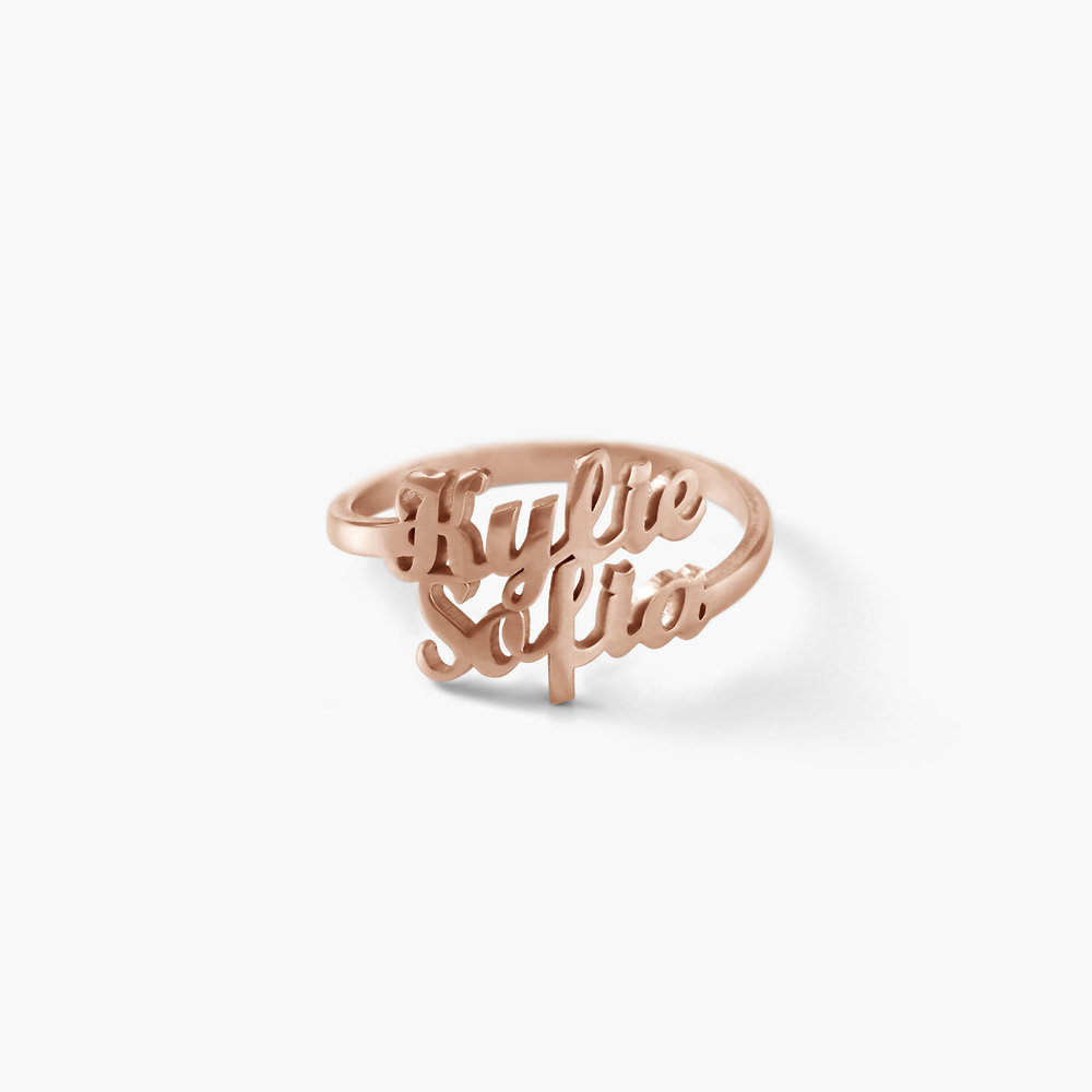 Two is Better Than One Name Ring - Rose Gold Plated