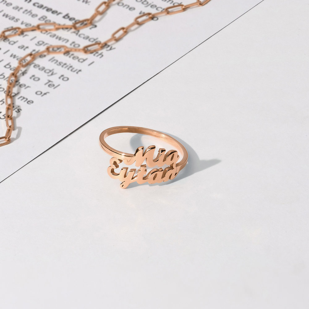 Two is Better Than One Name Ring - Rose Gold Plated - 1
