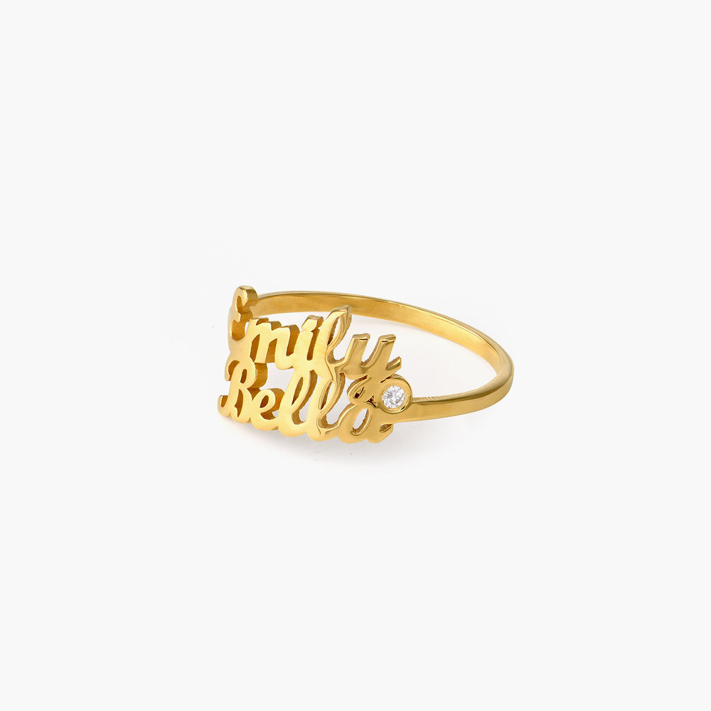 Two is Better than One Name Ring - Gold Plated with Diamond - 1