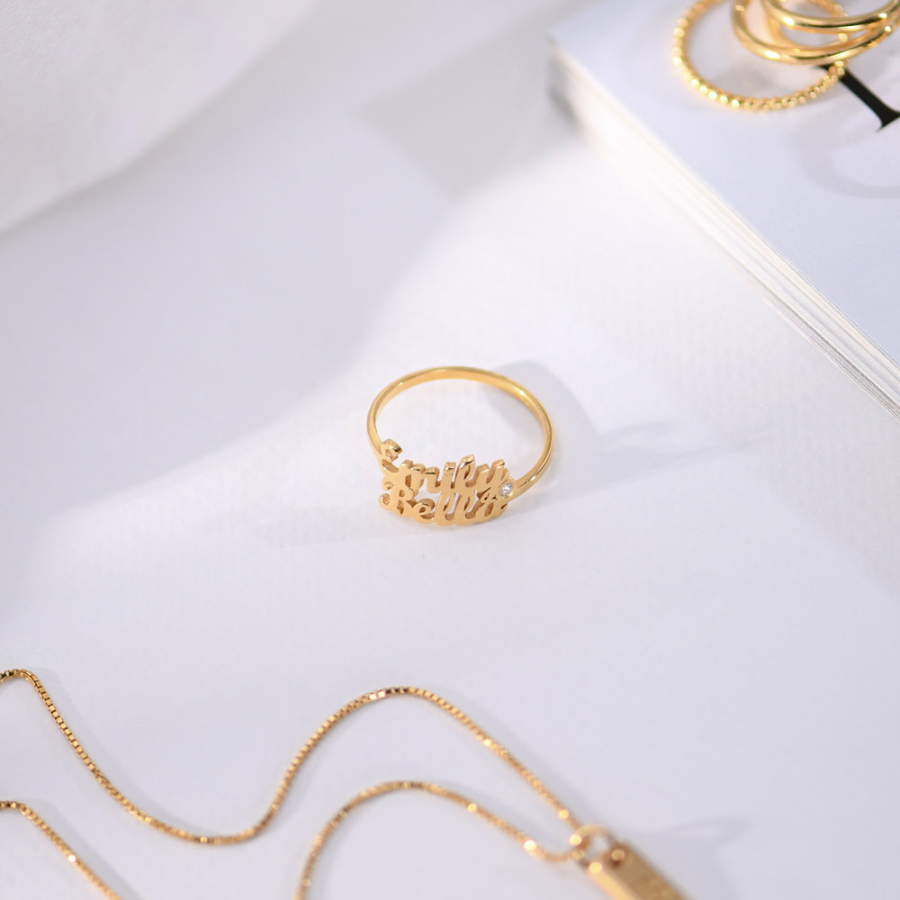 Two is Better than One Name Ring - Gold Plated with Diamond - 2