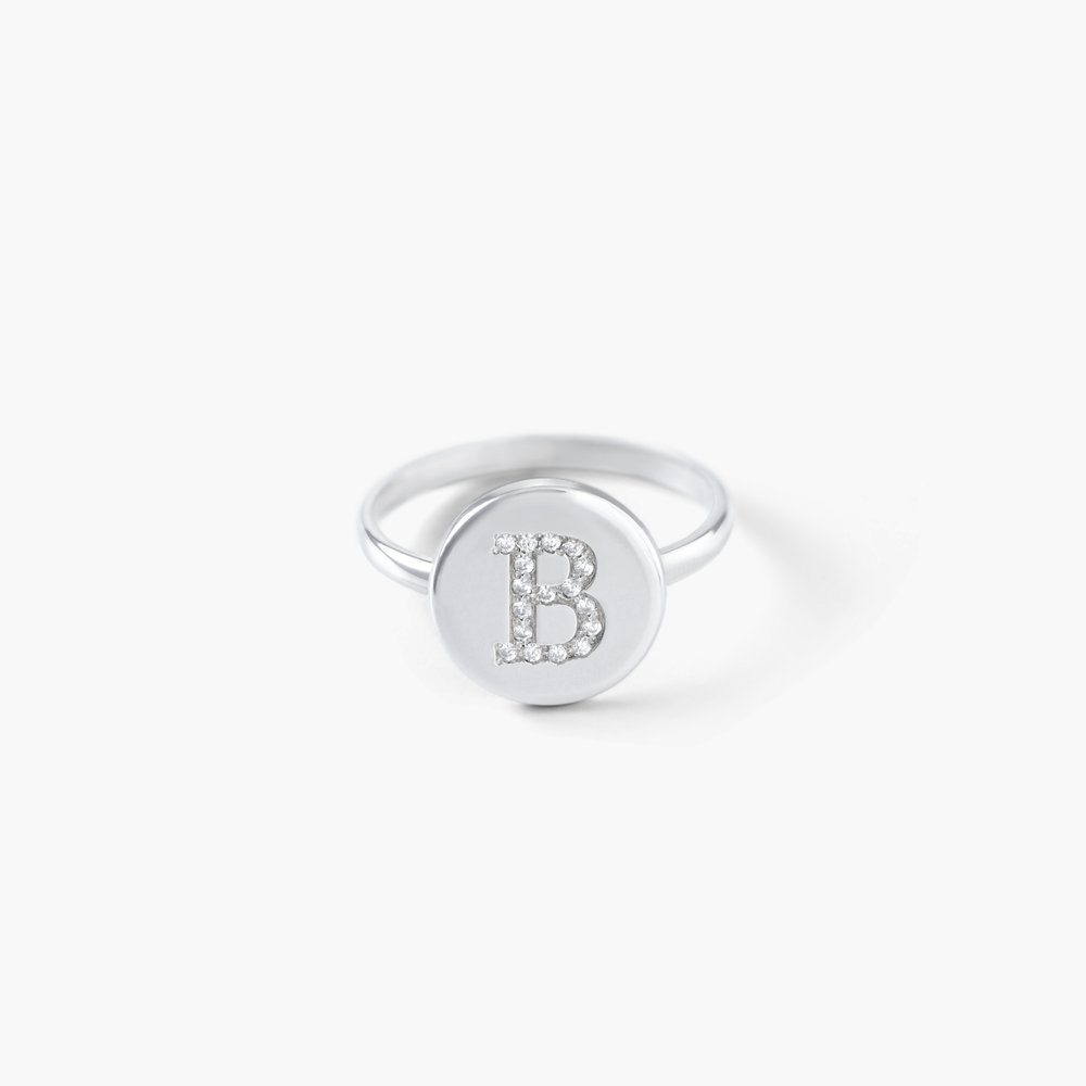Mini Initial Disc Ring with Cubic Zirconia - Silver
