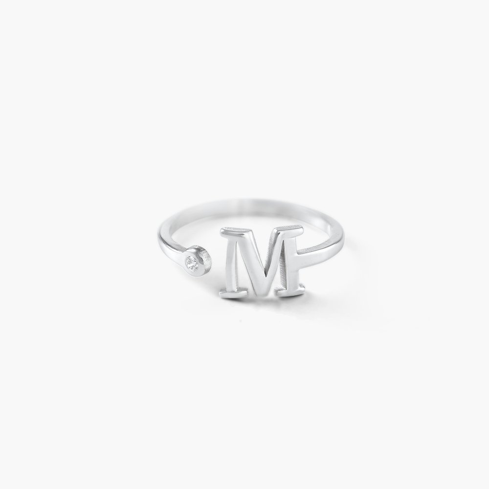 Tiny Initial Ring - Silver