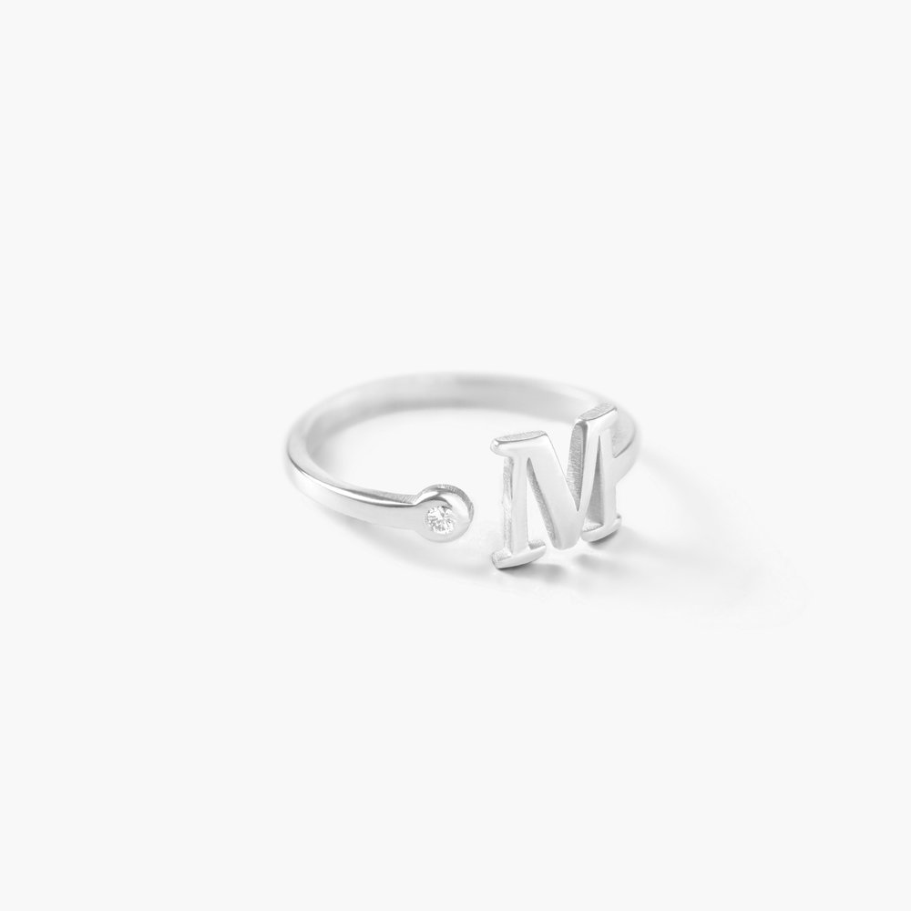 Tiny Initial Ring - Silver - 1