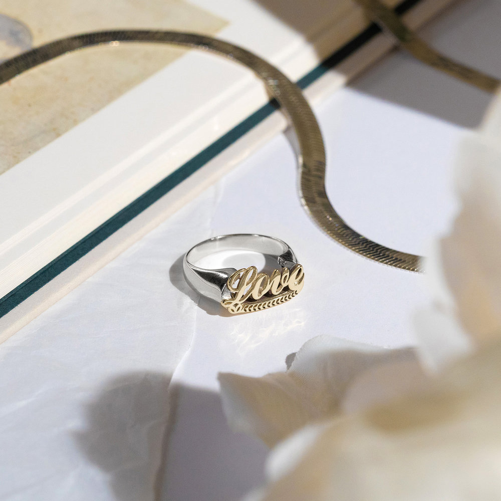 Throwback Name Ring - Sterling Silver & 10k Yellow Gold - 2