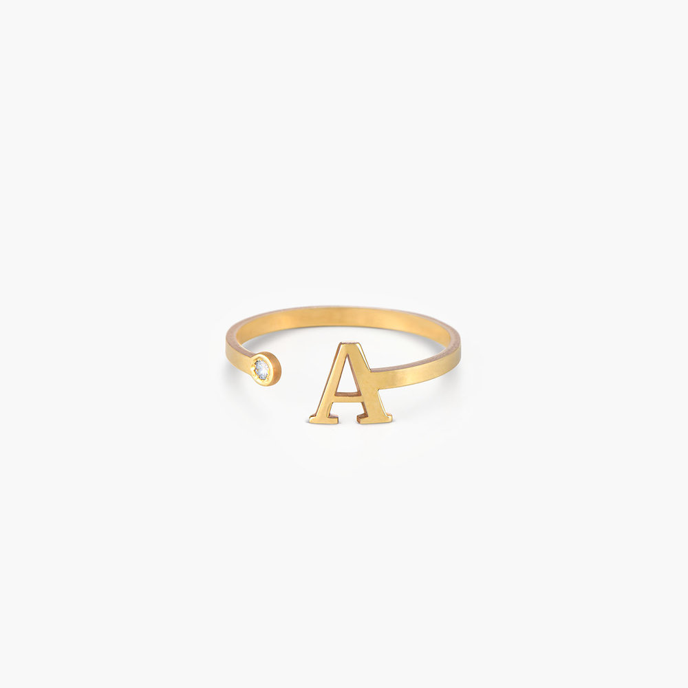 Tiny Initial Ring - 10K Gold