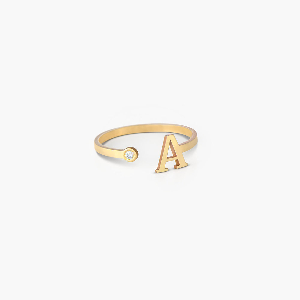 Tiny Initial Ring - 10K Gold - 1