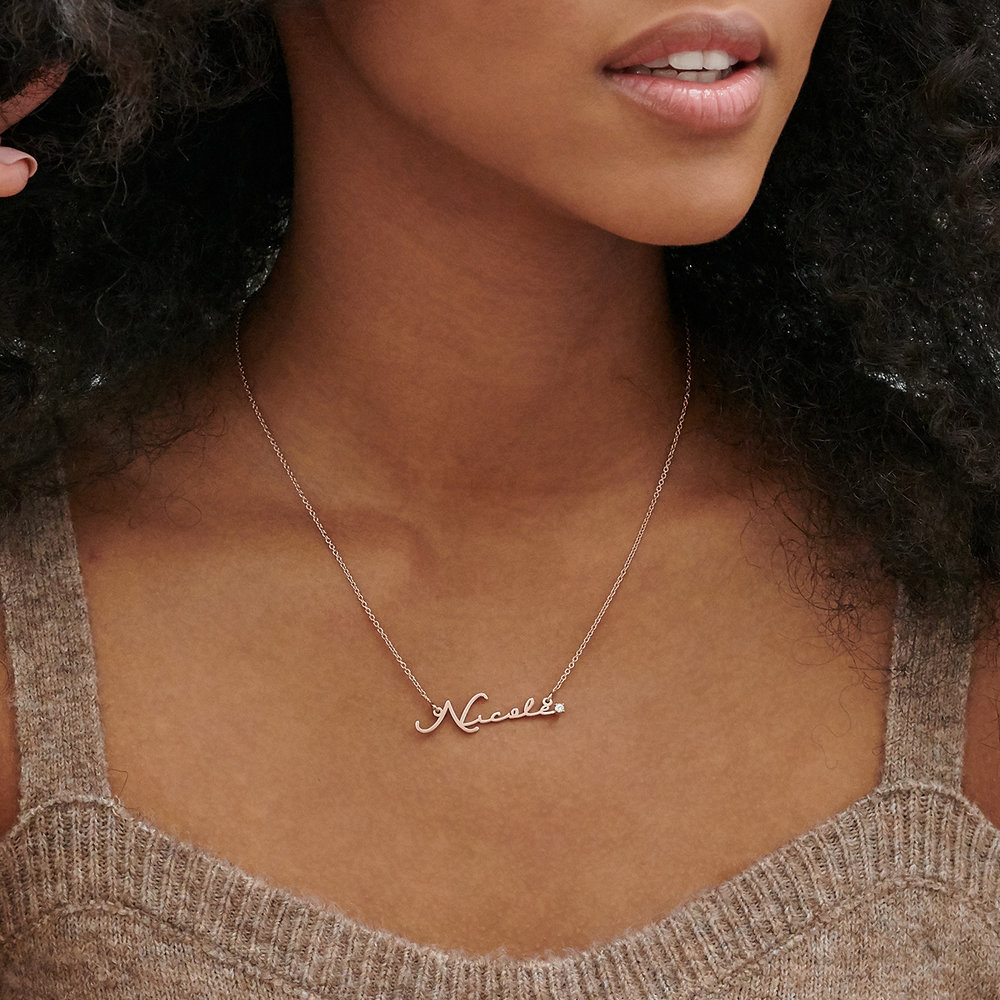 Mon Petit Name Necklace with Diamond - Rose Gold Plated - 2